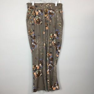 Wanderlux Gray Floral Palazzo Pants with Pockets